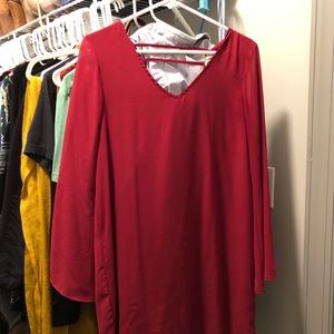 Red Mini Dress with Bell Sleeves, size M